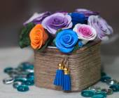 Basket full of fall flowers — Foto de Stock
