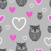 Owl - Illustration. Cute cartoon owls in vector. Childish card i — Stock Vector