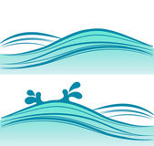 Blue sea waves on white background, — Vector de stock