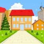 Vector cartoon modern school building — Stock Vector #55097553