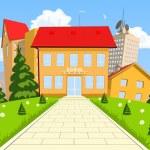 Vector cartoon modern school building — Stock Vector #55097555