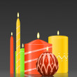 Vector set burning candles on glossy dark background — Vetor de Stock  #55098001