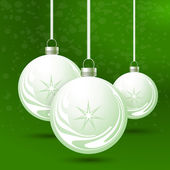 Green background with Christmas balls — Stock Vector