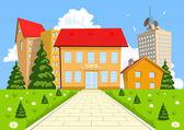 Vector cartoon modern school building — Stock Vector