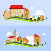 Urban landscape vector illustration — Stock Vector