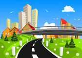 Vector city surrounded by nature landscape with bridge — Stock Vector
