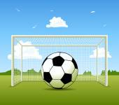 Vector Soccer ball on the green field — Stock Vector