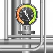 Gas, fuel pipe valve and pressure meter — Stok Vektör