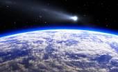 Cometa y planeta azul, Ilustración — Foto de Stock