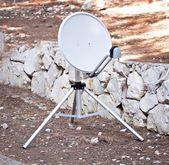 Satellite antenna dish communication equipment at ground — Stock Photo