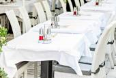 Restaurant tables and chairs ready to serve guests — Foto de Stock