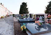 Cemetary graves with flowers and tombstone peace place — Stock fotografie