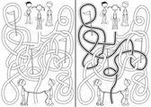 Happy kids maze — Stockvektor