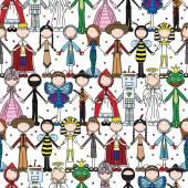 Happy kids seamless pattern — Stock Vector