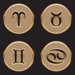 Golden Zodiac Signs — Stock Vector #58215209