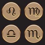 Golden Zodiac Signs — Stock Vector #58215353