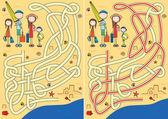 Happy family maze — Stock Vector
