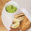Fish & Chips with mushy peas — Stock Photo #58439307