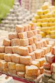 Market with turkish delight — Stock Photo
