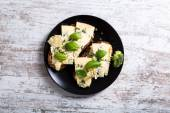 Sandwiches with Roquefort cheese — Stock Photo