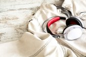 Headphones on a white Jacket — Stock Photo