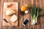 Organic Kitchen with Smartphone — Stock Photo