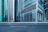 Office buildings and road — Stock Photo