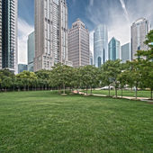 Lawn and city — Stock Photo