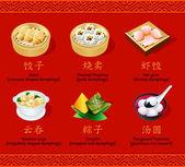 Chinese dumplings, set I — Stock Vector