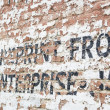 Old Weathered Brick Wall with Advertisement — Stockfoto #54208977