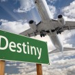 Destiny Green Road Sign and Airplane Above — Stock Photo