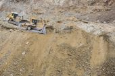 Excavator Tractors Moving Dirt — Stock Photo