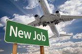 New Job Green Road Sign and Airplane Above — Stock Photo