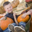 Two Little Boys Playing in Wheelbarrow at the Pumpkin Patch — Stock Photo #54416893