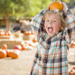 Little Boy Holding His Pumpkin at a Pumpkin Patch — Stock Photo #54417021