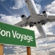 Bon Voyage Green Road Sign and Airplane Above — Stock Photo #54417575