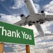 Thank You Green Road Sign and Airplane Above — Stock Photo #54417709
