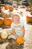 Adorable Baby Girl Holding a Pumpkin at the Pumpkin Patch — Foto Stock