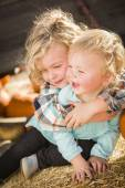 Little Boy Playing with His Baby Sister at Pumpkin Patch — Stock Photo