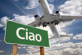 Ciao Green Road Sign and Airplane Above — Photo