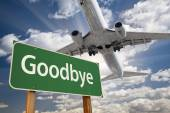 Goodbye Green Road Sign and Airplane Above — Stock fotografie