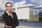 Woman In Front Commercial Building and Blank Real Estate Sign — Stock Photo