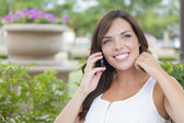 Young Adult Female Talking on Cell Phone Outdoors on Bench — Stock Photo
