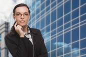 Confident Attractive Mixed Race Woman in Front of Corporate Buil — Stock Photo