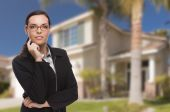 Mixed Race Woman in Front of Residential House — Stock Photo