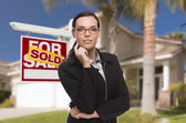 Mixed Race Woman in Front of House and Sold Sign — Stock Photo