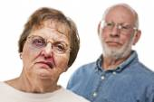 Battered and Scared Woman with Ominous Man Behind — Stock Photo