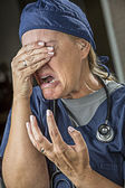 Agonizing Crying Female Doctor or Nurse — Stock Photo