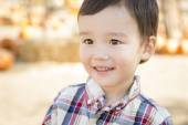 Mixed Race Young Boy Having Fun at the Pumpkin Patch — Stock Photo