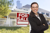 Young Woman in Front of House and Sale Sign — Foto de Stock